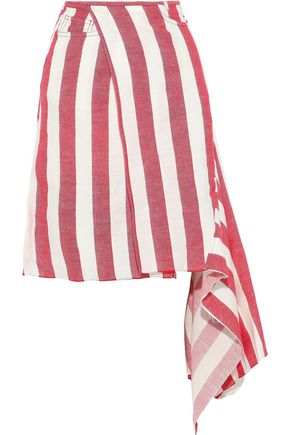 MARQUES' ALMEIDA Asymmetric striped linen and cotton-blend wrap skirt
