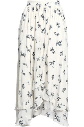ZIMMERMANN Floral-print silk-crepe midi skirt