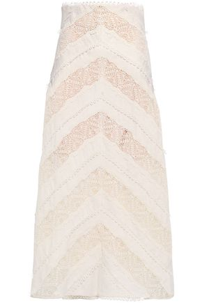 ZIMMERMANN Appliquéd linen midi skirt