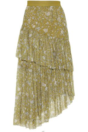 ZIMMERMANN Floral-print layered silk-georgette midi skirt