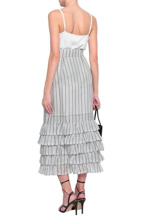 ZIMMERMANN Painted Heart striped linen and silk-blend midi skirt