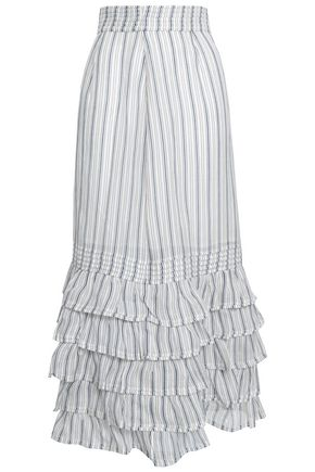 ZIMMERMANN Painted Heart striped linen and silk-blend midi skirt