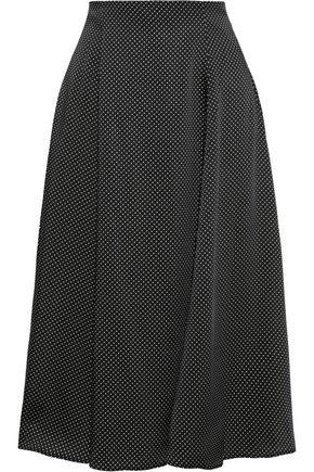 IRIS & INK Margot polka-dot satin-twill midi skirt
