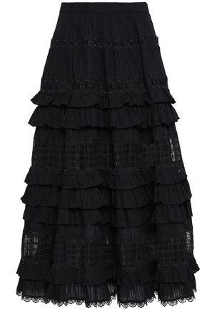 ZIMMERMANN Tiered lace-paneled cotton midi skirt