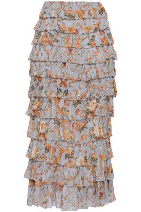 ZIMMERMANN Tiered printed silk-georgette midi skirt
