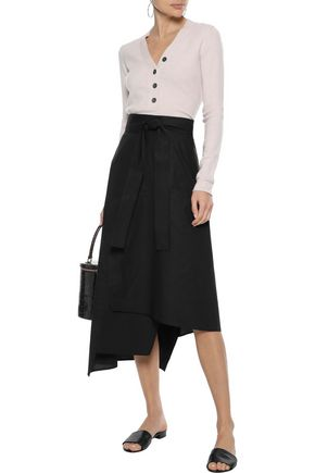 IRIS & INK Stella asymmetric cotton-poplin midi skirt