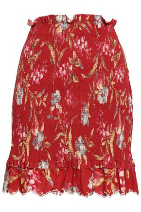ZIMMERMANN Shirred floral-print linen and cotton-blend mini skirt