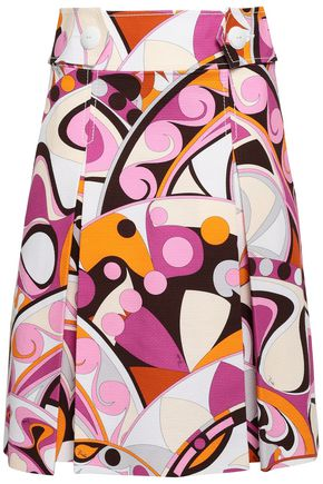 EMILIO PUCCI Pleated printed cotton skirt