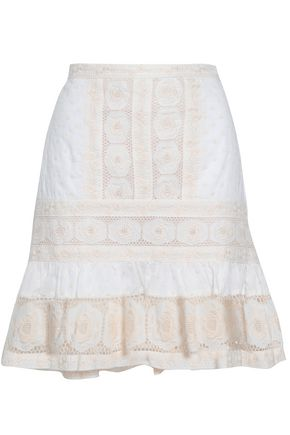 ZIMMERMANN Crochet-trimmed embroidered cotton-gauze mini skirt