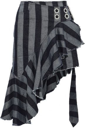 MARQUES' ALMEIDA Asymmetric ruffled striped denim wrap skirt