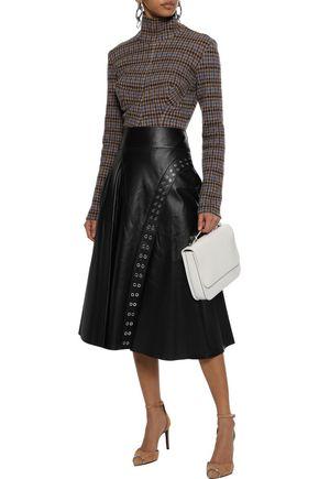 DEREK LAM Eyelet-embellished leather midi skirt