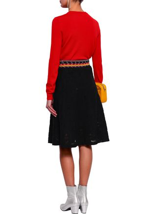 LOVE MOSCHINO Embroidered crochet-knit skirt
