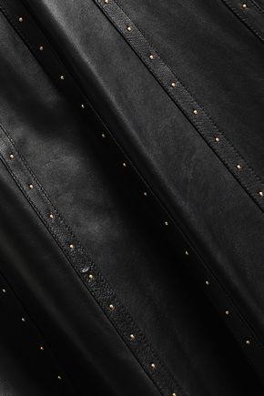 VALENTINO Studded leather midi skirt