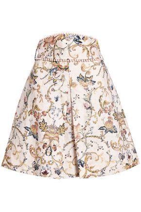 ZIMMERMANN Printed linen mini skirt