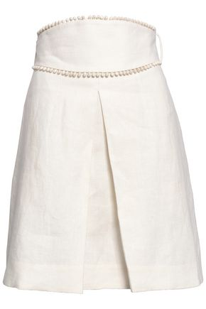 ZIMMERMANN Printed linen mini skirt