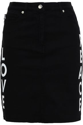 LOVE MOSCHINO Appliquéd printed denim mini skirt