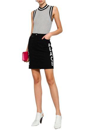 LOVE MOSCHINO Appliquéd printed denim mini skirt