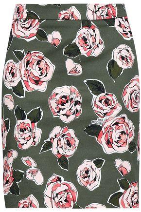 LOVE MOSCHINO Floral-print denim mini skirt