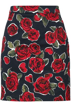 LOVE MOSCHINO Floral-print denim mini skirt
