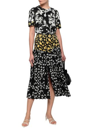 DEREK LAM Pleated printed silk-satin and crepe de chine midi skirt