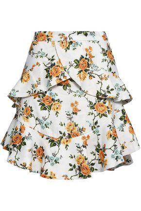 ZIMMERMANN Tiered floral-print linen mini skirt