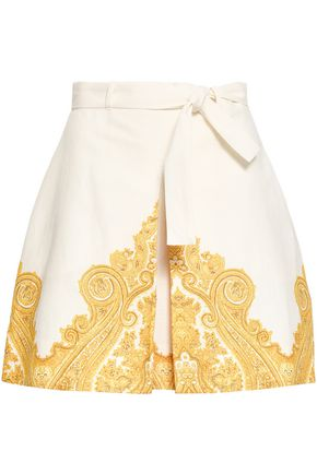 ZIMMERMANN Lumino printed linen and cotton-blend mini skirt