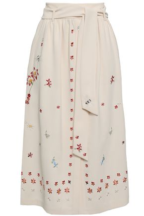 TEMPERLEY LONDON Belted embroidered crepe midi skirt