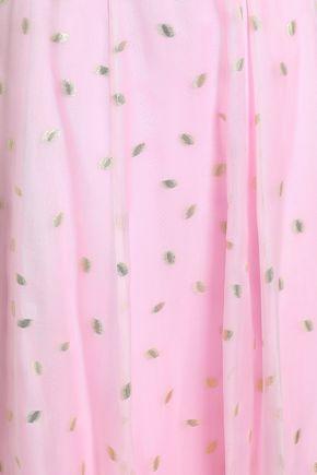TEMPERLEY LONDON Flared silk-blend fil coupé maxi skirt