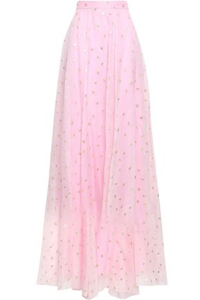 TEMPERLEY LONDON Flared silk-blend fil coupé maxi skirt