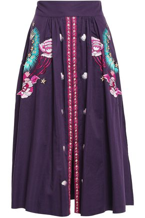 TEMPERLEY LONDON Embroidered cotton-poplin midi skirt