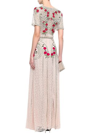 TEMPERLEY LONDON Embroidered cotton-blend lace maxi skirt