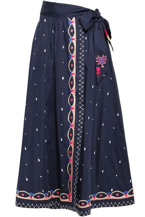TEMPERLEY LONDON Divine embroidered cotton-poplin midi wrap skirt