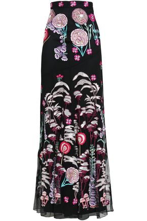 TEMPERLEY LONDON Woodland embroidered tulle maxi skirt
