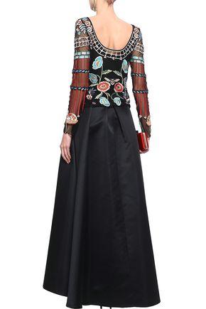 TEMPERLEY LONDON Prestige pleated duchesse-satin maxi skirt