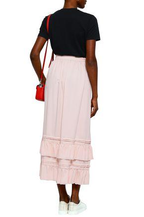 LOVE MOSCHINO Ruffled tiered twill midi skirt