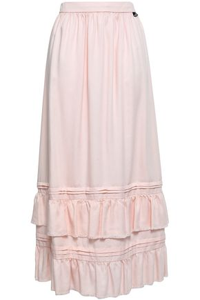 LOVE MOSCHINO Ruffled tiered twill midi skirt
