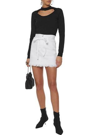 FRAME Belted frayed denim mini skirt