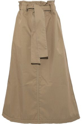 ZIMMERMANN Radiate tie-front cotton-blend twill midi skirt