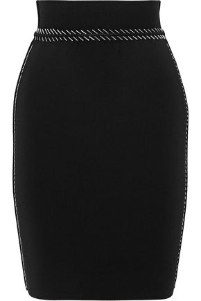 ALEXANDER WANG Bead-embellished stretch-knit mini skirt