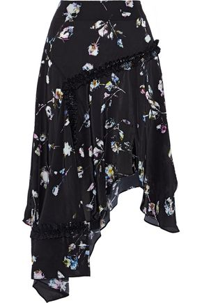 PREEN LINE Amelija asymmetric floral-print crepe de chine skirt