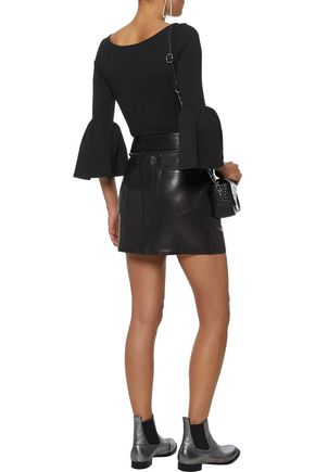 FRAME Belted leather mini skirt
