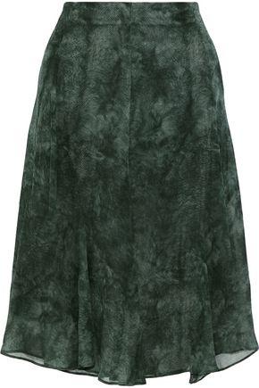 AKRIS Printed silk-georgette skirt