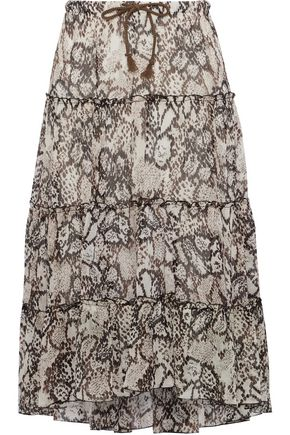 SEE BY CHLOÉ Snake-print plissé cotton and silk-blend gauze skirt