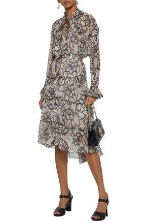 SEE BY CHLOÉ Snake-print plissé cotton and silk-blend gauze skirt