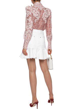 ZIMMERMANN Lumino Flutter distressed denim mini skirt
