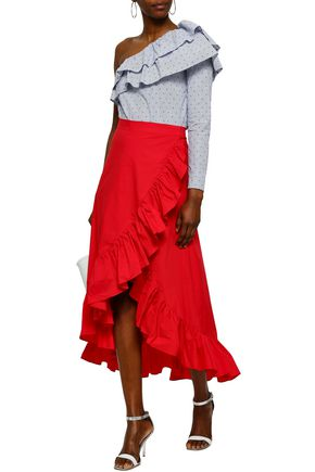 RAOUL Wrap-effect ruffled cotton-poplin midi skirt