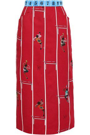 STELLA JEAN Printed brushed cotton-twill midi skirt