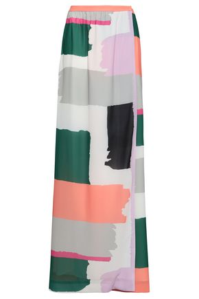 RAOUL Printed crepe maxi wrap skirt