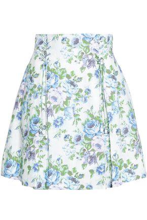 ZIMMERMANN Lace-up floral-print linen mini skirt