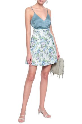 Zimmermann Lace-up Floral-print Linen Mini Skirt In White